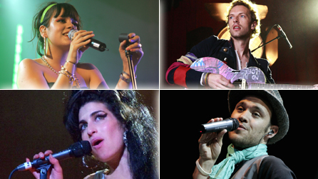 Lily Allen, Coldplay's Chris Martin, Amy Winehouse and Will Young