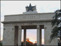 Black Star on top of a monument  in Accra, Ghana