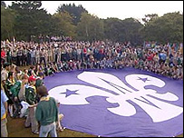 Scouts gather on Brownsea Island
