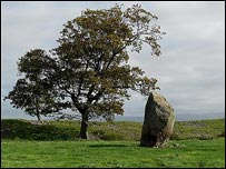 Trees grow on raised ground surrounding this ancient centre stone at Mayburgh Henge, near Eamont Bridge. Jo Jessop
