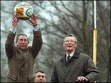 Prince Charles starts the Ashbounr Shrovetide Football Game