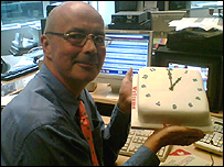 BBC presenter Nick Clarke, pictured with a cake on his return to the BBC