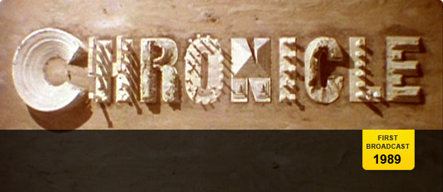 The logo for 'Chronicle' from 1989 - the letters are formed by models of ruined buildings.