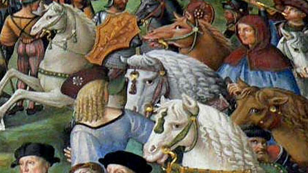 Detail of a medieval painting of horses in battle