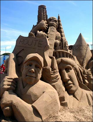 Close-up of the sand sculpture