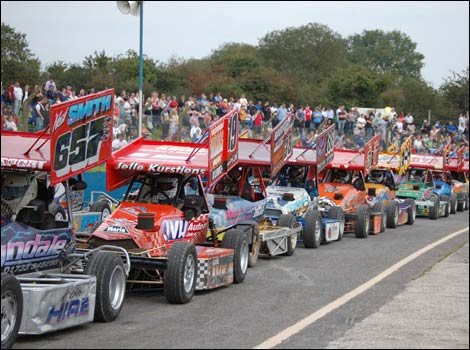 Cars lined up on the starting line