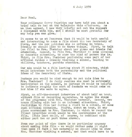 Document - Letter about a 'Panorama' profile of Margaret Thatcher.
