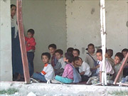 Our makeshift school in a bombed-out four storey building