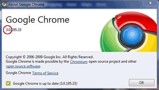 updated version of chrome