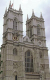 Gothic stone facade of Westminster Abbey, a Christian place of worship