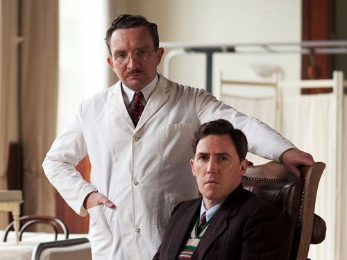 Left, Eddie Marsan as Dr. Ludwig Guttmann and right, Rob Brydon as paralysed soldier
