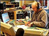 Rony presenting at Radio Sheffield, 2007
