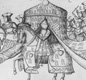 Henry VIII on his way to a jousting tournament wearing his armour and riding a horse. Courtiers are holding the flaps of the tent so that the he can be seen.