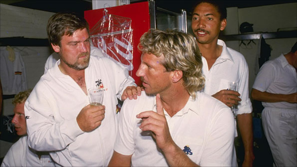 Mike Gatting, Ian Botham and Phil DeFreitas celebrate after winning the first 1986/87 Ashes Test at Brisbane