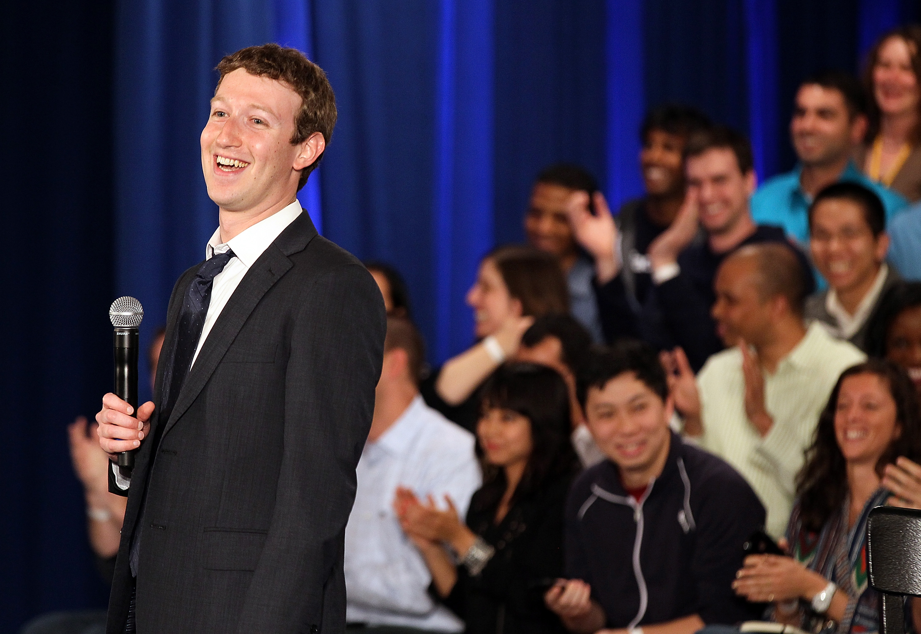 Facebook founder Mark Zuckerberg speaks at Town Hall meeting with President Obama - Getty Images