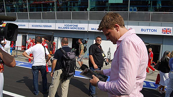 Jake Humphrey notes down the finishing order after the Italian Grand Prix