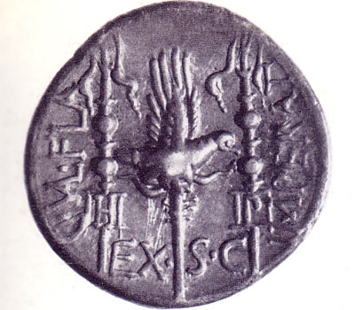 Earliest legionary eagle - a coin of C Valerius Flaccus