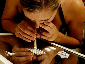 Girl snorting cocaine