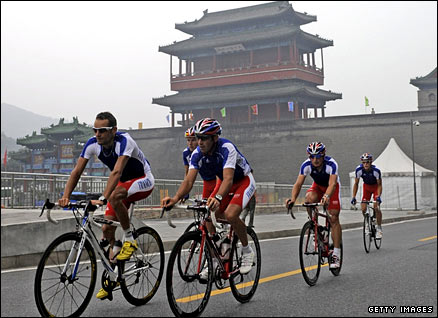 The French cycle team practice along the route at Badaling