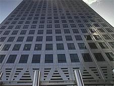 A close-up of a skyscraper in Canary Wharf in London