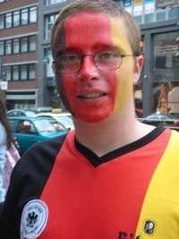 A german supporter with serious face paint!