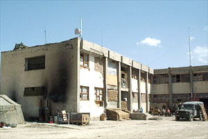 A former Taliban HQ which has been taken over by the British Army