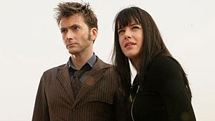 David Tennant and Michelle Ryan on location.