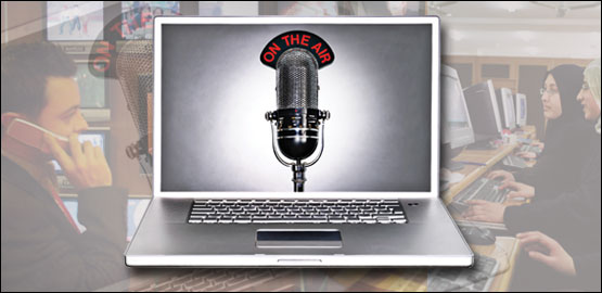 Graphic image of a laptop computer, the screen of which shows a large radio microphone, with the wording 'on the air' above. Picture credit: Getty
