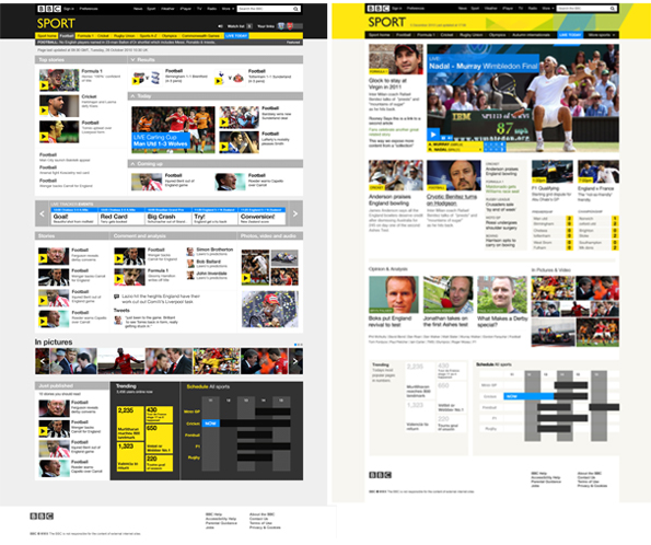 Mocked-up black and yellow designs for the BBC Sport homepage