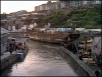 SS Great Britain edges into her original dock