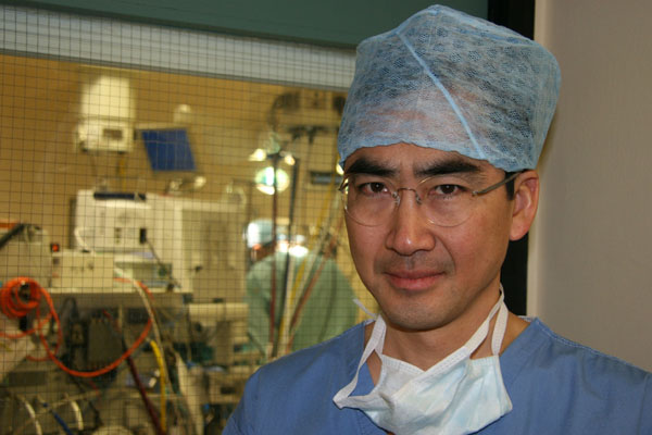 Cardiologst Dr Victor Tsang outside the operating theatre