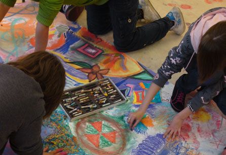 Young people at a previous art school workshop