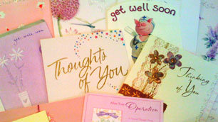 A small selection of some of the many Get Well Soon cards that Lisa received