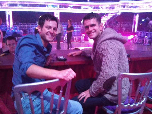 Matt Baker and Scott Maslen in the Strictly Come Dancing Judges Chairs