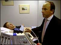 Craig getting a health check by consultant David Rae