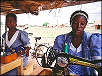 Sewing lessons at a vocational school in Ghana