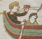 Norman soldiers cross the sea to invade England in 1066. Normandy was settled by Vikings in AD 911, so Norman ships looked like Viking ships. The picture is from the Bayeux Tapestry.