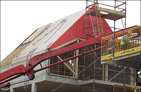 Red pointed roof on building site