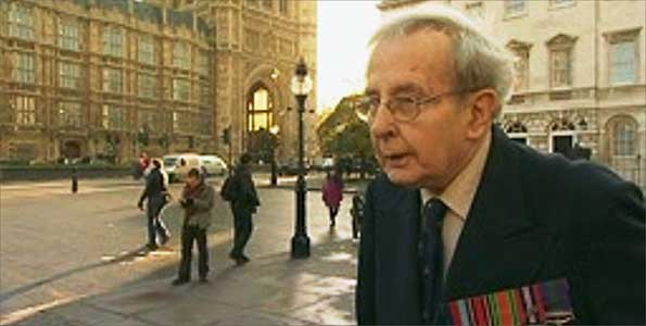December 2008 and Major Richard Perkins, aged 91, holds a one-man protest outside Parliament