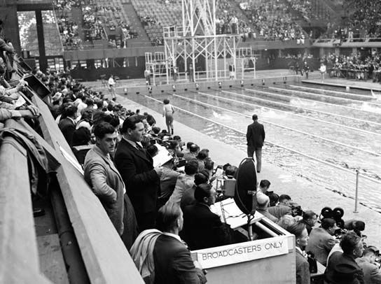 The BBC commentators in position by the Empire Pool at Wembley.
