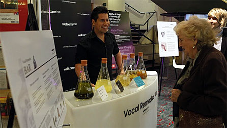 The vocal health cocktail bar at the Wellcome Trust exhibit at St David's Hall, Cardiff
