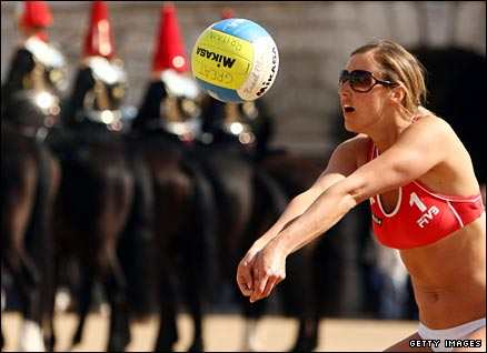 GB star Denise Johns in action at London 2012's beach volleyball venue, Horse Guards Parade