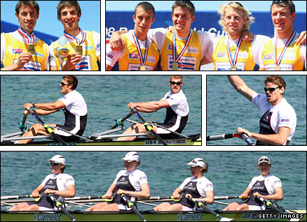 Clockwise from top left - lightweight double, coxless four from Munich, sculler Alan Campbell, women's quad, openweight double