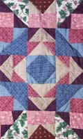 An Amish-made patchwork quilt