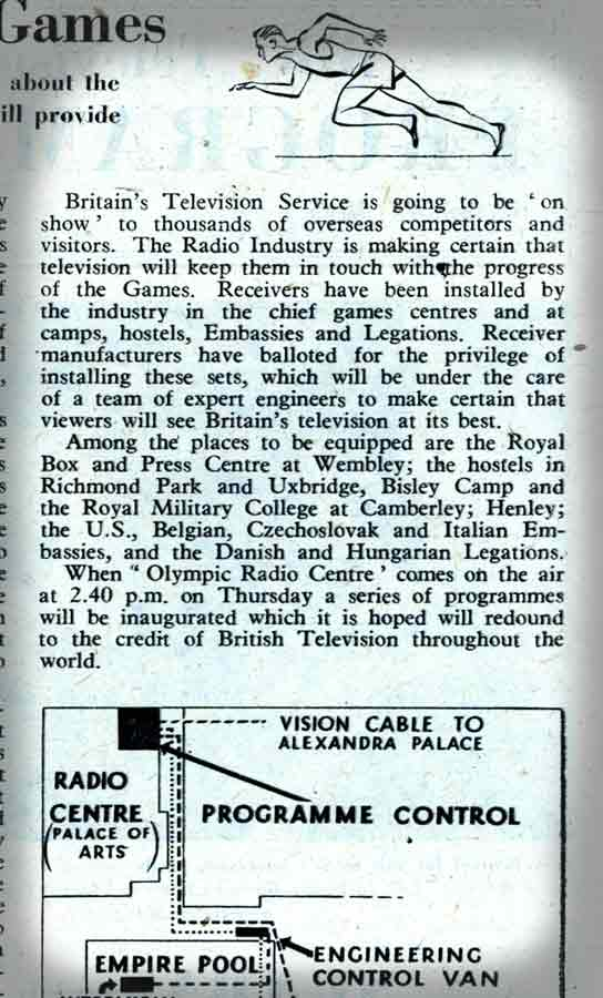 A zoom in on the fourth part of a Radio Times article about Televising the Olympic Games.