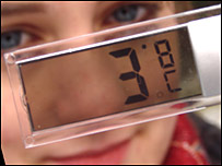 Schoolgirl with thermometer