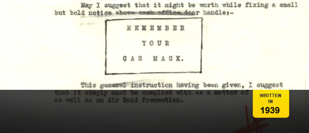 A BBC memo on gas masks for staff.