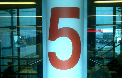 A picture of the number 5 on the fifth floor of New Broadcasting House