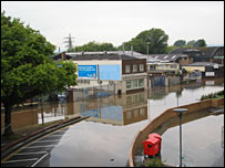 View of flooded Gloucester, July 2007