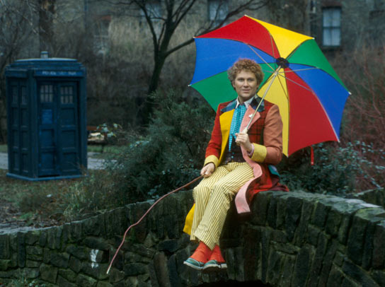 Colin Baker in his colourful patchwork costume.